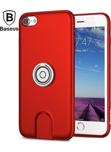 Baseus Baseus Apple İphone 7/8 Wireless Şarj + Yüzüklü Silikon Kırmızı Kılıf + Araç İçi Tutucu Renkli